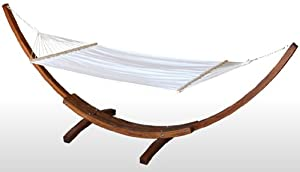 Wood Wooden Curved Arc 14 Hammock Stand Larch Wood--3 Year Limited Warrantyluxurious 5-layer Quilted Hammock Bed Whardwood Spreader Bars by Siberian Larch Wood