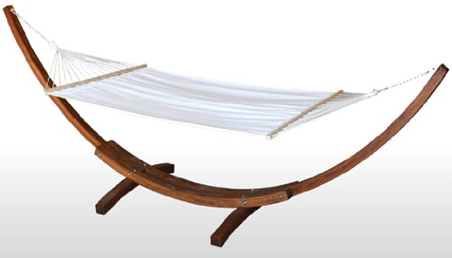 NEW WOOD WOODEN CURVED ARC 14' HAMMOCK STAND LARCH WOOD--3 YEAR LIMITED WARRANTY+LUXURIOUS 5-LAYER QUILTED HAMMOCK BED w/HARDWOOD SPREADER BARS