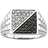 1/2ct Men's Black and White Diamond Ring in 14Kt White Gold (1/2CT TW Size 11)
