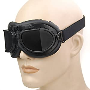 Retro Steampunk Style Black Frame Smoke Lens UV Protection Helmet Goggles