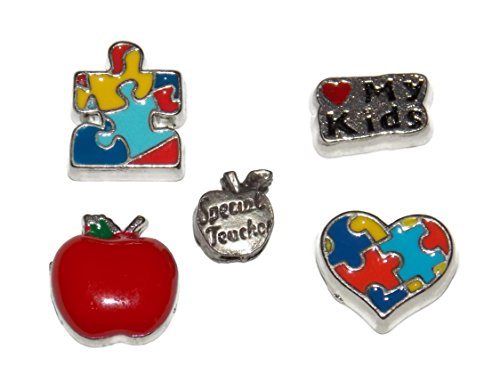 Teacher Floating Charm Pack with 5 Teacher Themed Charms Love My Kids, Special Teacher Apple, Puzzle