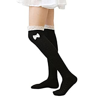 Wensltd Winter Women Japanese Bow Lace Knit Over Knee Thigh High Socks