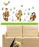 Modern House Winnie the Pooh Three Tiggers Playing Wall Decor Removable Decal Wall Sticker