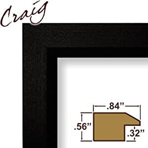 Craig Frames 7171610BK 12 by 18-Inch Poster Frame, Wood Grain Finish, .825-Inch Wide, Solid Black