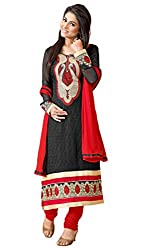 Kaizen Export Black Embroidered Semi Stitched Salwar Suit
