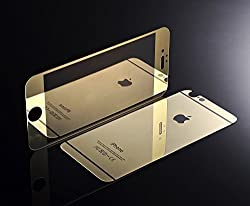 Exoic81 Electroplated Mirror Front + Back Tempered Glass Screen Protector For Apple iPhone 6 / 6S / 6G - GOLD