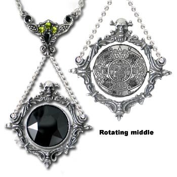 Alchemy Gothic P488 The Obsidian Mirror Pendant