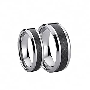Amazon His Amp Hers 8MM 6MM Tungsten Carbide Wedding Band Ring Set With Black Carbon Fiber