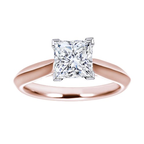 For sale 0.4 Carat GIA Certified Rose Gold Asscher Cut Solitaire Diamond Engagement Ring (D Color VS1 Clarity)