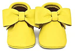 Baby Moccasins, The Coral Pear Bow Moccasin, Genuine Leather Shoes for Babies & Toddlers, Sunshine Yellow, Size 3.5M (Babies & Toddlers)