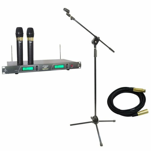 Pyle Mic And Stand Package - Pdwm2550 19'' Rack Mount Dual Vhf Wireless Rechargeable Handheld Microphone System - Pmks3 Tripod Microphone Stand W/ Extending Boom - Ppmcl15 15Ft. Symmetric Microphone Cable Xlr Female To Xlr Male