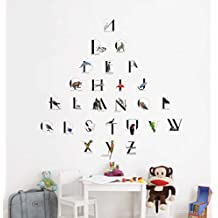 Rawpockets English Alphabets ABCD With Animals Name' Wall Decal Sticker