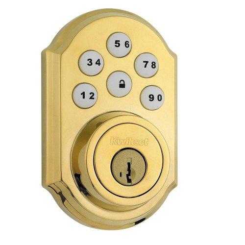 909 L03 Smt Cp Smartcode Polished Brass Electronic Deadbolt Featuring Smartkey - Deadbolt-Yow