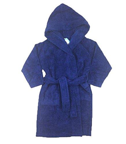 FIT RITE Boys 100% Cotton Velour Hooded Terry Robe Bathrobe Blue (10-12)