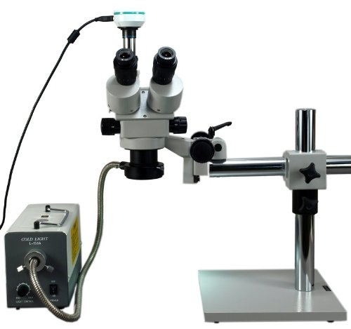 Omax 3.5X-45X Digital Trinocular Table Stand Stereo Microscope With 5.0Mp Usb Digital Camera And 150W Cold Fiber Ring Light