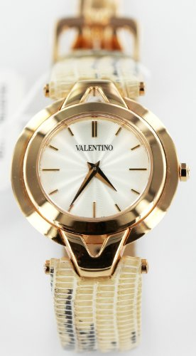 Valentino Watches Lizard Leather Watch in Rose Gold, White, Beige & Black - V38SBQ5002S601