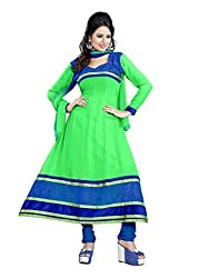 Parinaaz fashion Chhaya Georgette Green Unstitched Anarkali salwar suit dress material