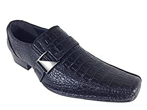 Men's Dress Loafers Elastic Slip on with Buckle Fashion Shoes Runs Half Size Big(toni) (12, Black_croco)
