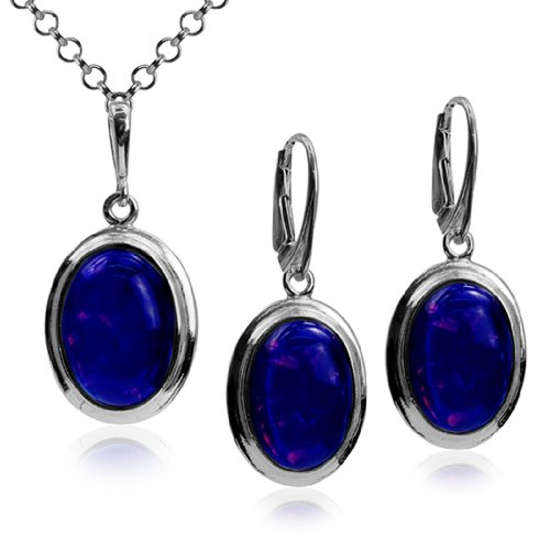 Sterling Silver Imitation Opal Oval Pendant Leverback Earrings Necklace Set 18 Inches
