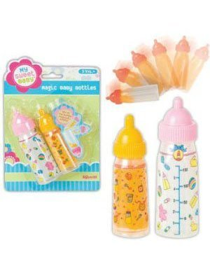 Watch As The Liquid Inside Magically Appears And Disappears - Babydoll Magic Doll Bottles Set Of Two Milk & Juice Girls Toy front-1079592