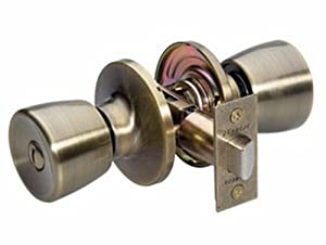 Master Lock TUO0305 Tulip Privacy Door Knob, Antique Brass