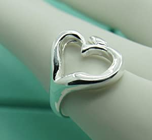 one size fits all rings for women - HEART Hollow out 925 Silver Rings Size adjustable