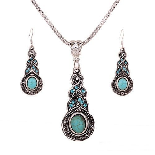 1 X Fashion Womens Retro Turquoise Rhinestone Earrings Necklace Jewelry Set (X Ring Jewelry compare prices)