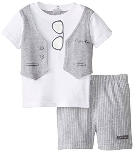 Calvin Klein Baby-Boys Infant White Tee with Screen Print Vest and Shorts