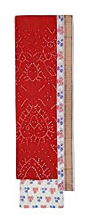 Bandhej Mart Women's Cotton Salwar Suit Material (Red and White)