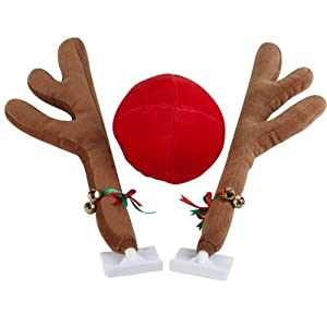 28 Cm Fun Christmas Antlers & Nose Set For Your Car
