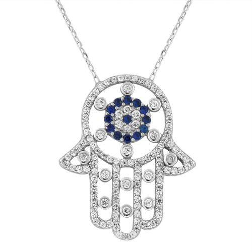 Sterling Silver Evil Eye Hamsa White Blue Crystals Cz Large Womens Pendant Necklace (Rhodium Plated)