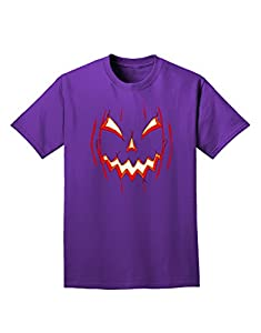 Scary Glow Evil Jack O Lantern Pumpkin Adult Dark T-Shirt - Purple - XL