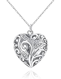 Via Mazzini Charasmatic Silver Plated Crystal Studded Love Heart Pendant For Girls And Women (NK0660)