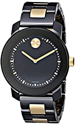 "Movado Women's 3600172 ""Bold"" Two-Tone Stainless Steel Watch with Black and Gold-Tone Link Bracelet"