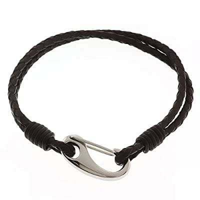 "Men's 8"" Dark Brown Leather Bracelet With Stainless Steel Clasp: Link Bracelets: Jewelry"