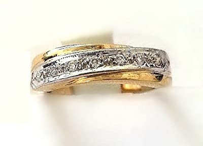 0.05ct H/SI1 Round Brilliant Half Eternity Diamonds Ring set in 9ct yellow and white gold.Size- J