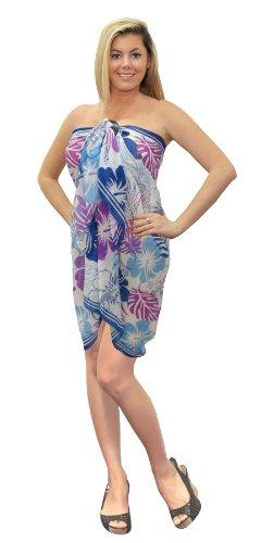 La Leela Allover Hibiscus Floral Printed Swim Sarong White Purple