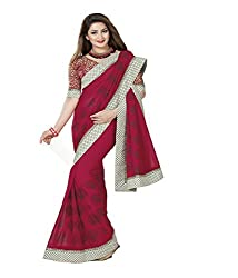 Ambica Faux Chiffon With Blouse Piece Saree (2720 _Red)