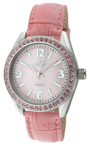 Peugeot Women's 3006PK Silver-Tone Swarovski Crystal Accented Pink Leather Strap Watch