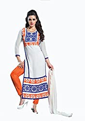 ShopperShopee Women's Cotton Salwar Suit Dress Material (white- Cotton _white)