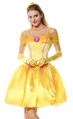 Lusiya Women's Adult Princess Belle Fairy Tale Costume with spaghetti straps