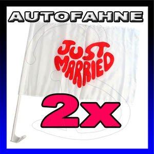 "2 x Auto-Fahne Autofahne Hochzeit "" Just Married "" Pkw Auto Flagge"