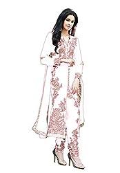 Sanjana Design Women's fashino Georgette dress material ( KS4011_Free Size_white)