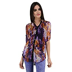 Terquois Printed georgette Shirt (333_Orange_XXL)