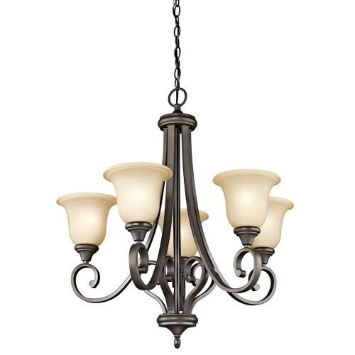 Kichler Lighting 43156OZ Monroe 5-Light Chandelier with Light Umber Etched Glass, Olde Bronze Finish