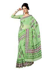 Fabdeal Indian Bollywood Green, Blue Cotton Printed Saree-QBCSR309MR