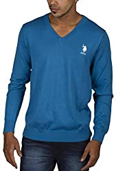 US POLO ASSOCIATION Men's Poly Cotton Sweater (USSW0404_Blue_Small)