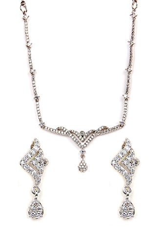 sempre-london-rhodium-plated-elegant-necklace-with-designer-earrings-for-women
