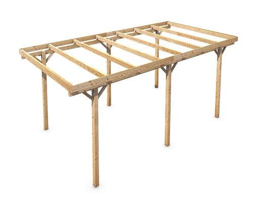 Holz Carport Flachdach Massivholz KVH freistehend 3000x6000 mm