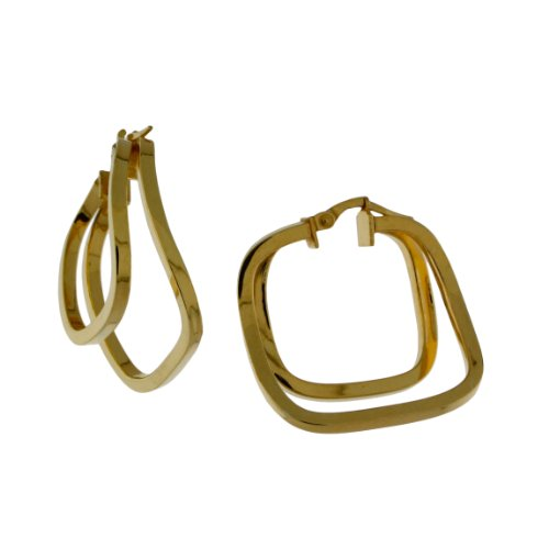 Sterling silver 14 karat Gold Plated, Square tubing, two square hoop earring.